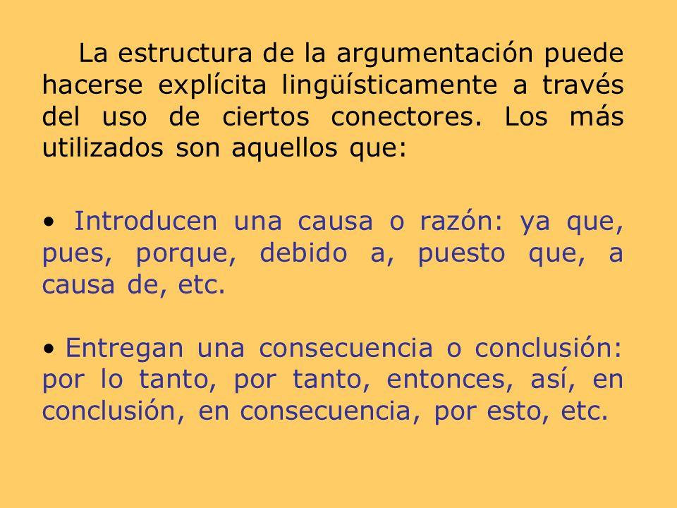 La estructura de la argumentación puede hacerse explícita lingüísticamente a través del uso de ciertos conectores. Los más utilizados son aquellos que: