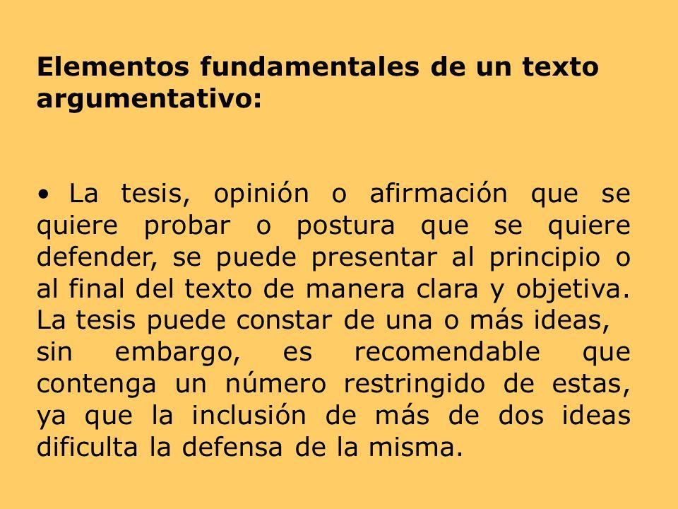 Elementos fundamentales de un texto argumentativo:
