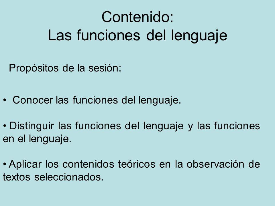 Contenido: Las funciones del lenguaje