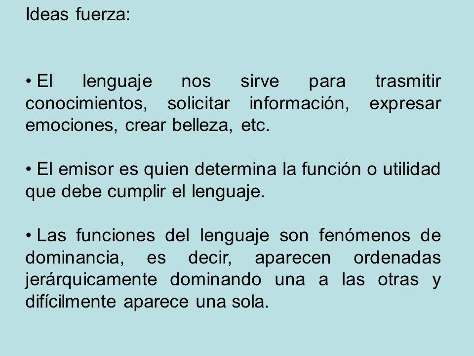 Ideas fuerza:El lenguaje nos sirve para trasmitir conocimientos, solicitar información, expresar emociones, crear belleza, etc.