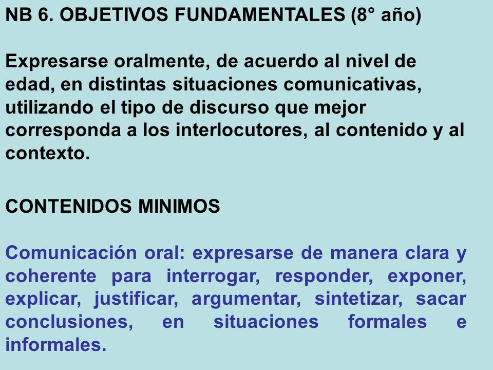 NB 6. OBJETIVOS FUNDAMENTALES (8° año)