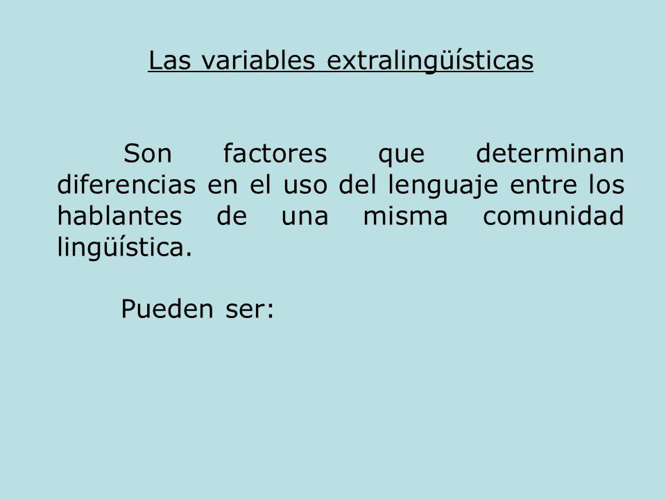 Las variables extralingüísticas
