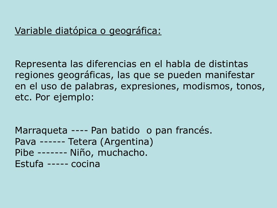 Variable diatópica o geográfica: