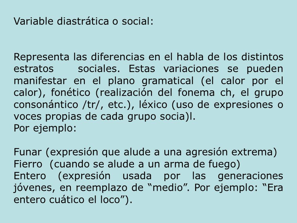 Variable diastrática o social: