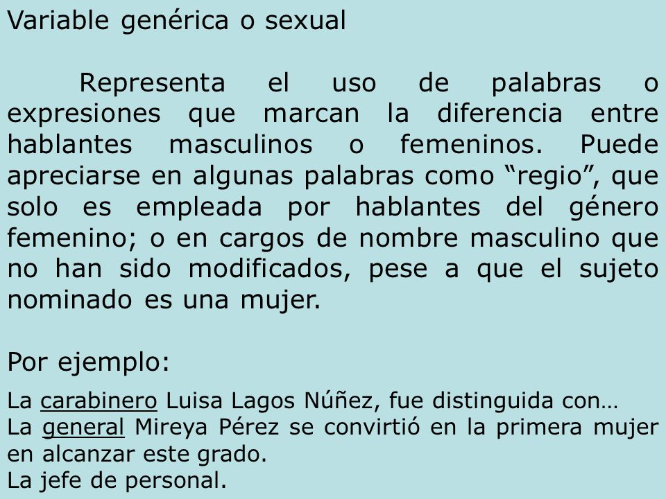 Variable genérica o sexual