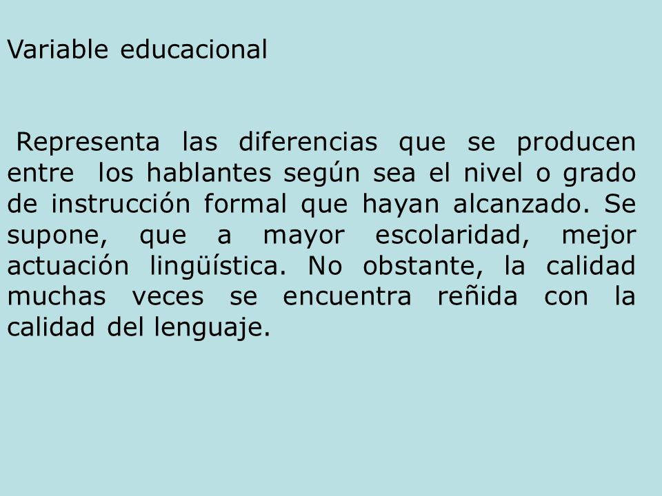 Variable educacional