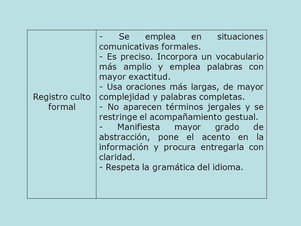 Registro culto formal - Se emplea en situaciones comunicativas formales.