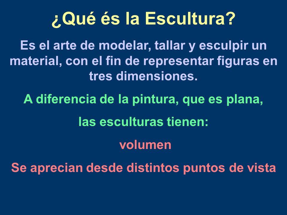 ¿Qué és la Escultura Es el arte de modelar, tallar y esculpir un material, con el fin de representar figuras en tres dimensiones.
