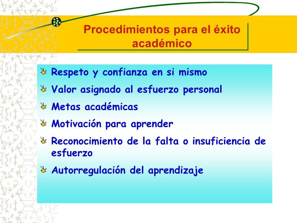 Procedimientos para el éxito académico