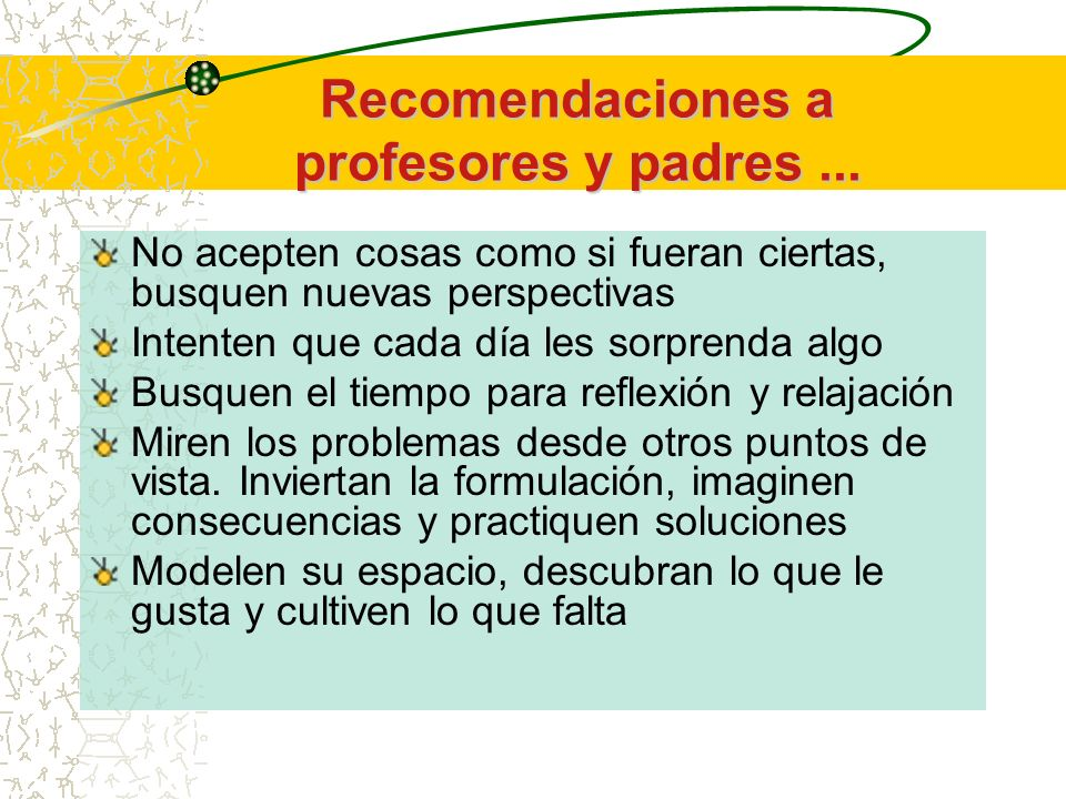 Recomendaciones a profesores y padres ...