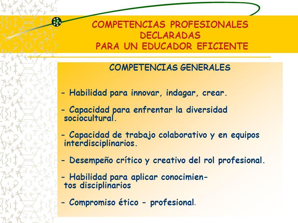 COMPETENCIAS PROFESIONALES DECLARADAS PARA UN EDUCADOR EFICIENTE