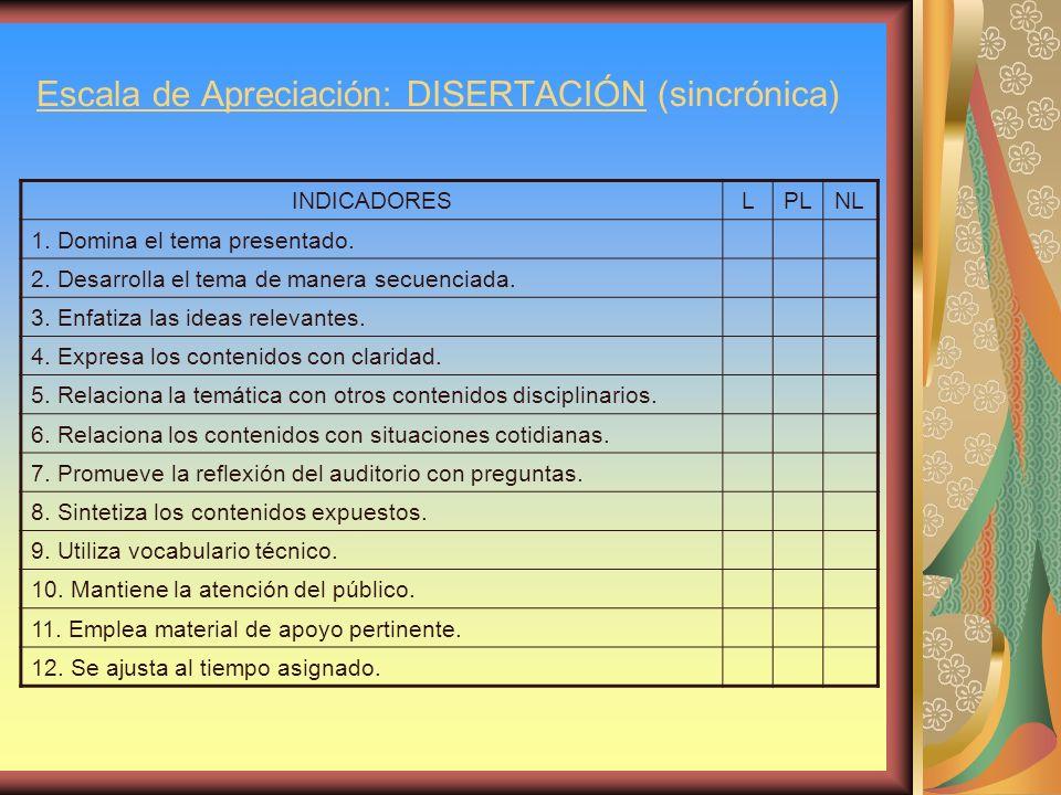 Escala de Apreciación: DISERTACIÓN (sincrónica)