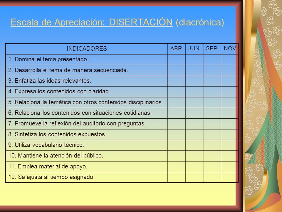 Escala de Apreciación: DISERTACIÓN (diacrónica)