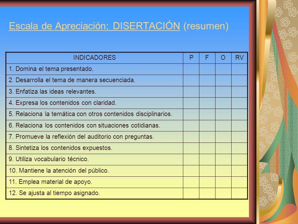 Escala de Apreciación: DISERTACIÓN (resumen)