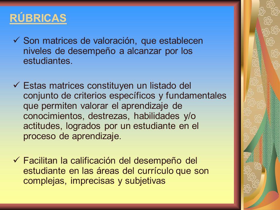 RÚBRICAS Son matrices de valoración, que establecen niveles de desempeño a alcanzar por los estudiantes.