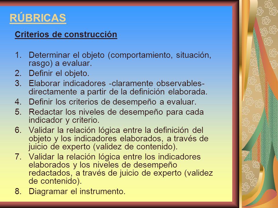 RÚBRICAS Criterios de construcción