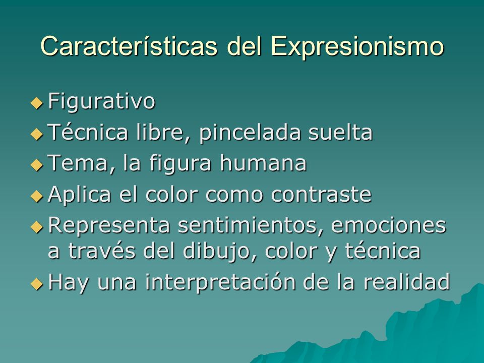 Características del Expresionismo