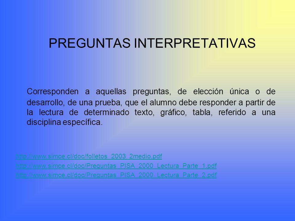 PREGUNTAS INTERPRETATIVAS