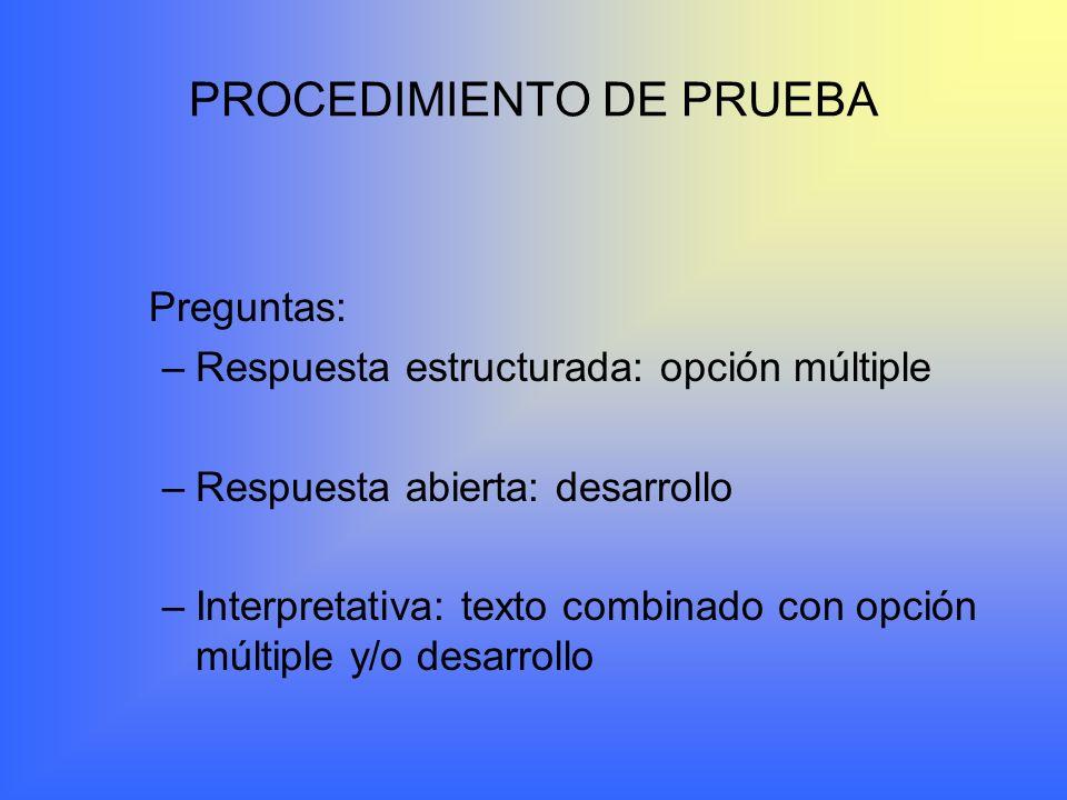 PROCEDIMIENTO DE PRUEBA