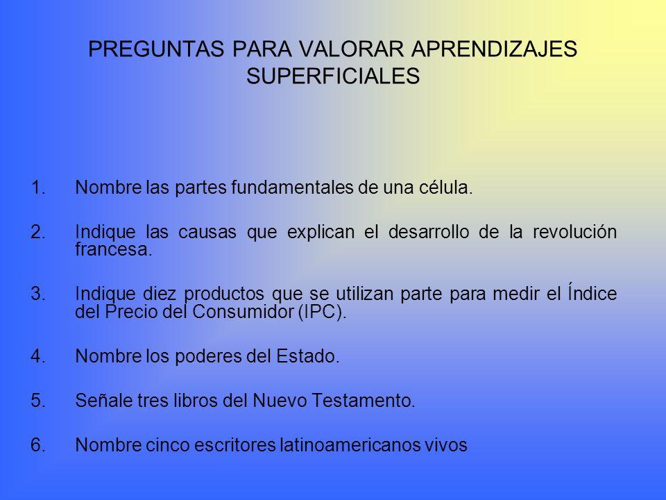 PREGUNTAS PARA VALORAR APRENDIZAJES SUPERFICIALES