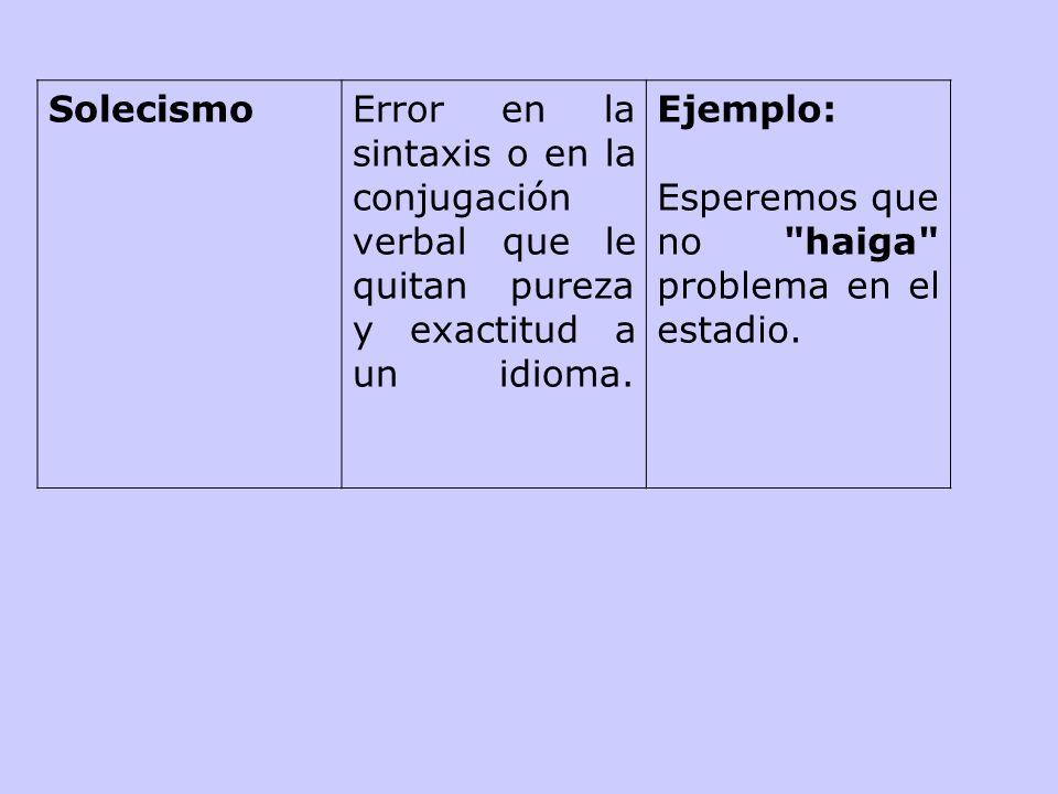 SolecismoError en la sintaxis o en la conjugación verbal que le quitan pureza y exactitud a un idioma.