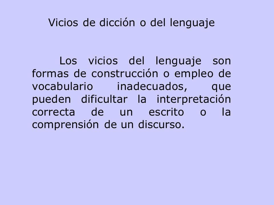 Vicios de dicción o del lenguaje