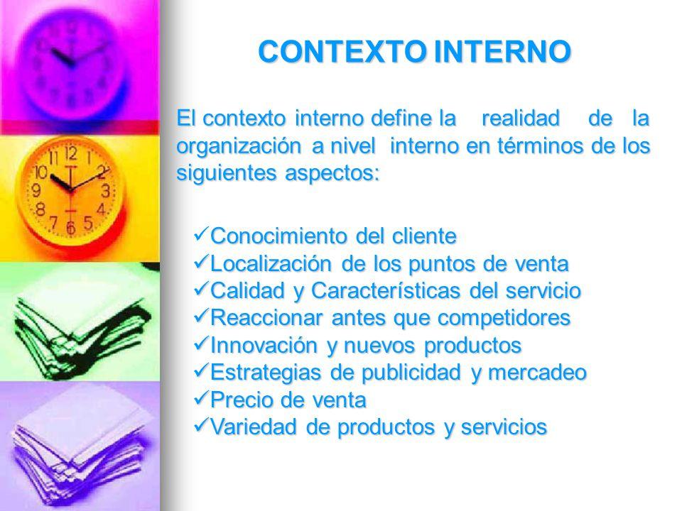 CONTEXTO INTERNO El contexto interno define la realidad de la