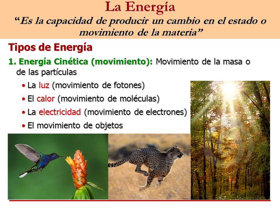 La Energía Es la capacidad de producir un cambio en el estado o movimiento de la materia
