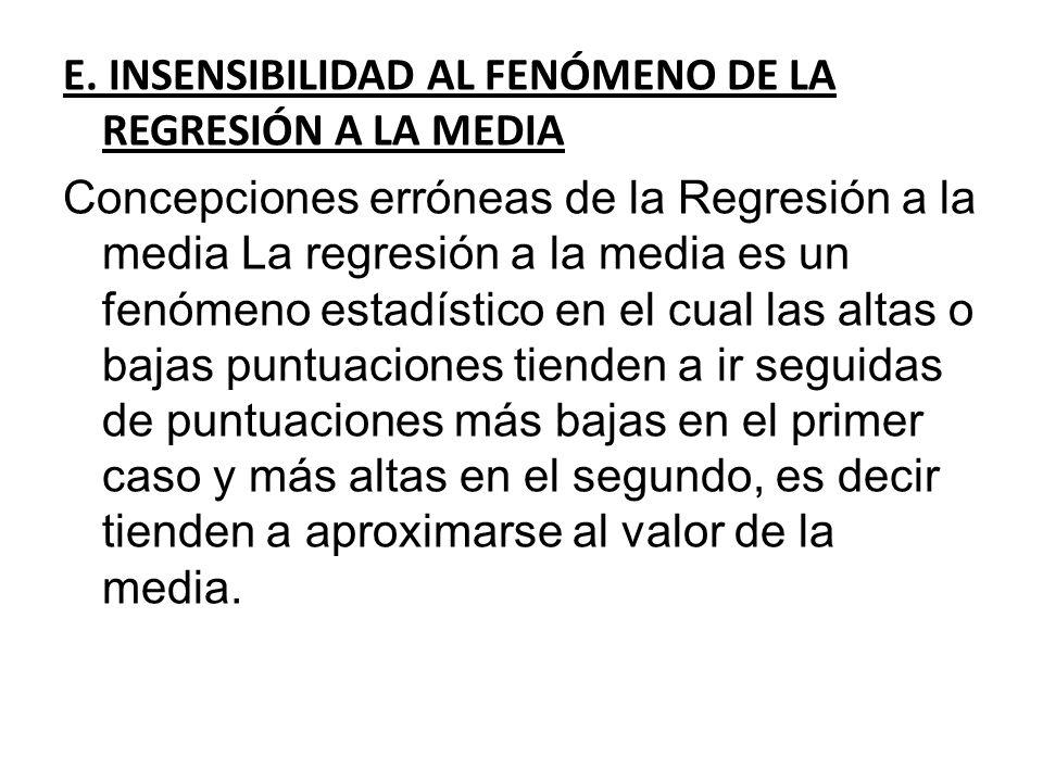 E. INSENSIBILIDAD AL FENÓMENO DE LA REGRESIÓN A LA MEDIA
