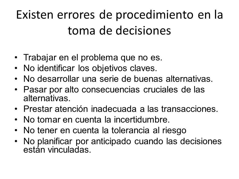 Existen errores de procedimiento en la toma de decisiones