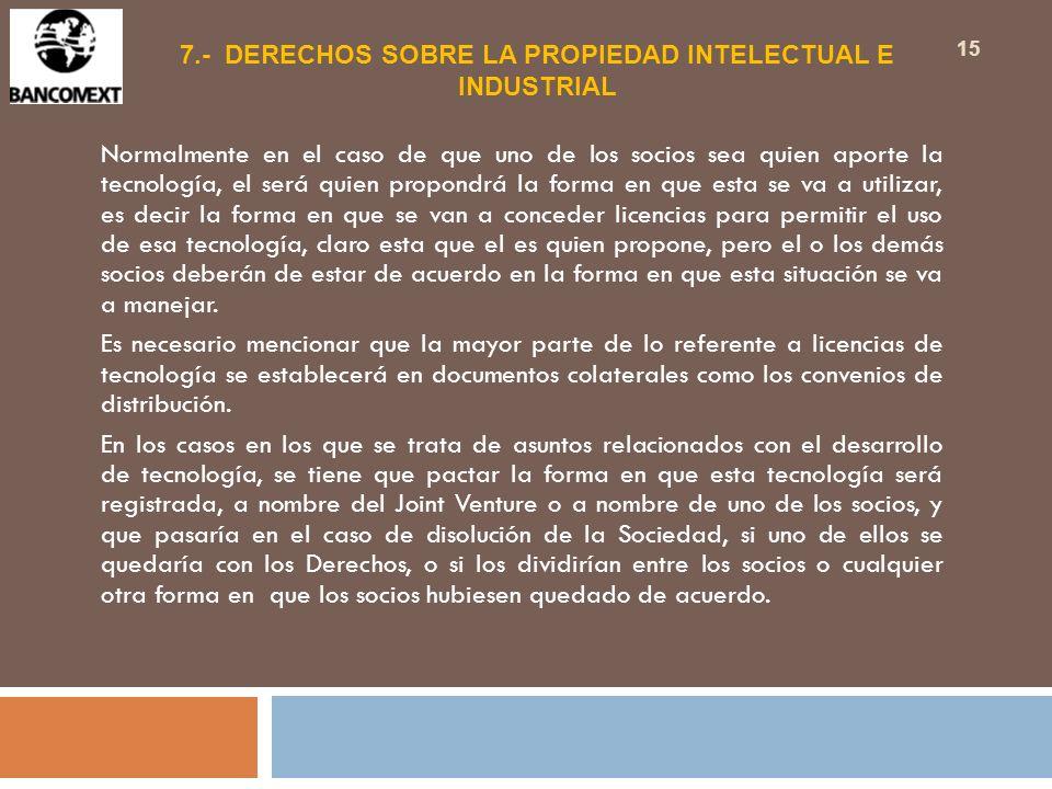 7.- DERECHOS SOBRE LA PROPIEDAD INTELECTUAL E INDUSTRIAL
