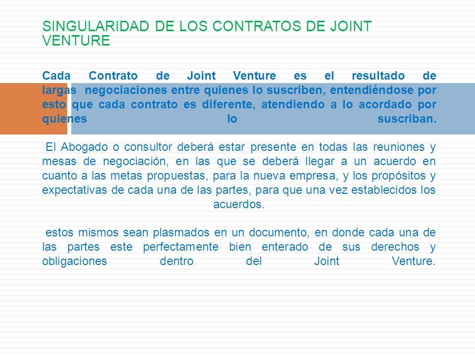 SINGULARIDAD DE LOS CONTRATOS DE JOINT VENTURE