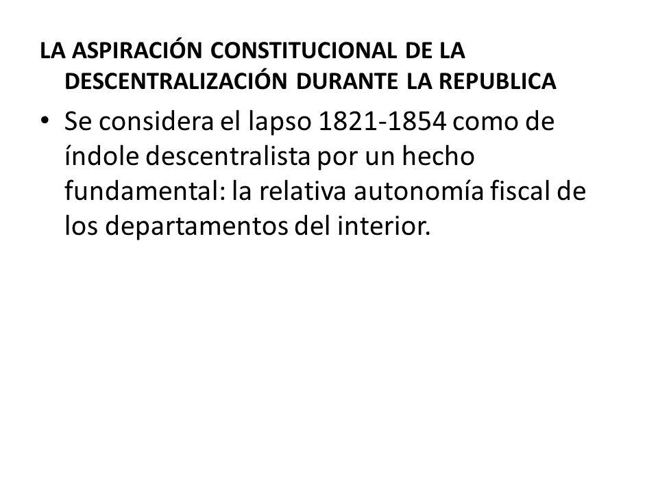 LA ASPIRACIÓN CONSTITUCIONAL DE LA DESCENTRALIZACIÓN DURANTE LA REPUBLICA