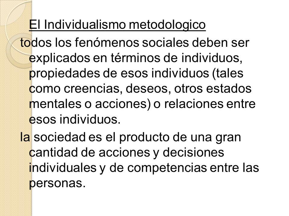 El Individualismo metodologico todos los fenómenos sociales deben ser explicados en términos de individuos, propiedades de esos individuos (tales como creencias, deseos, otros estados mentales o acciones) o relaciones entre esos individuos.