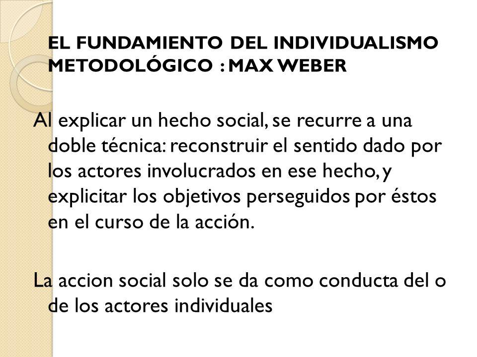 EL FUNDAMIENTO DEL INDIVIDUALISMO METODOLÓGICO : MAX WEBER