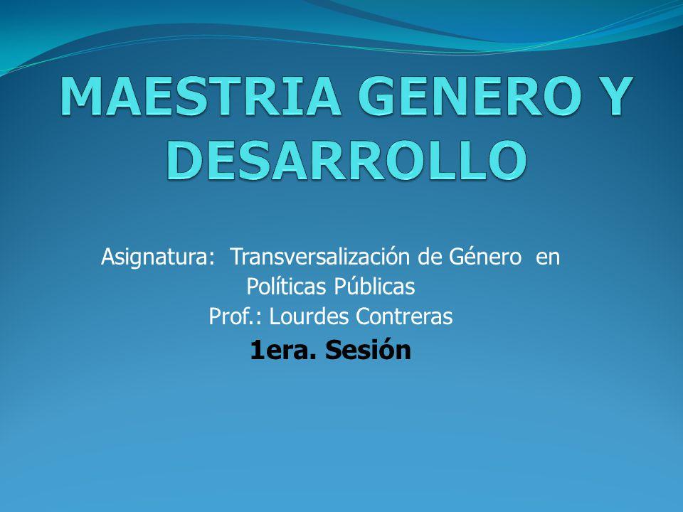 MAESTRIA GENERO Y DESARROLLO