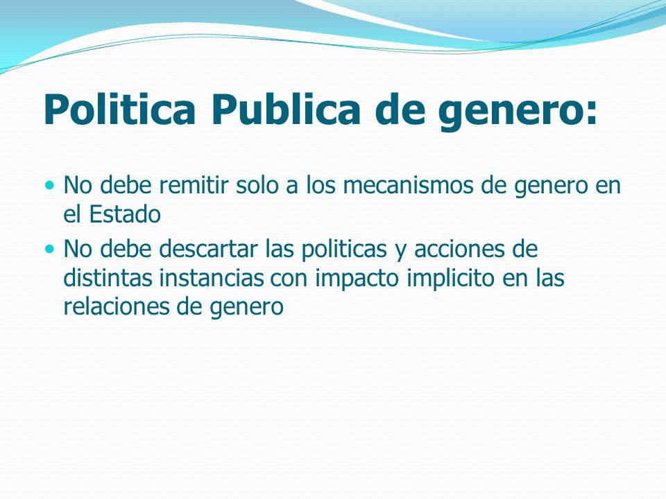Politica Publica de genero: