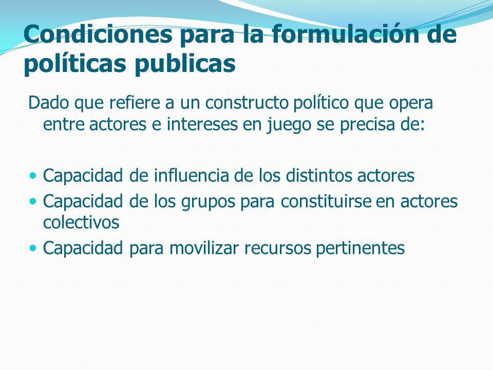 Condiciones para la formulación de políticas publicas