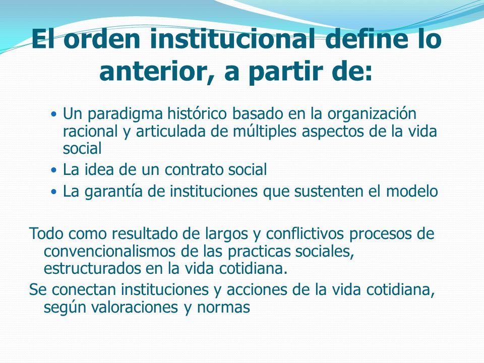El orden institucional define lo anterior, a partir de: