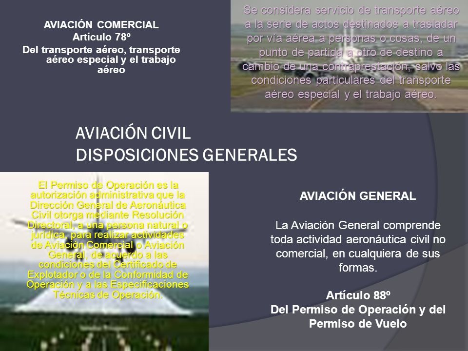 AVIACIÓN CIVIL DISPOSICIONES GENERALES