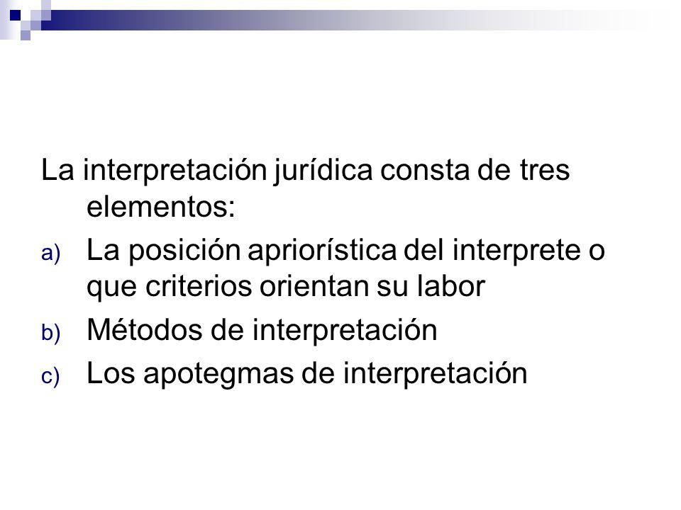 La interpretación jurídica consta de tres elementos: