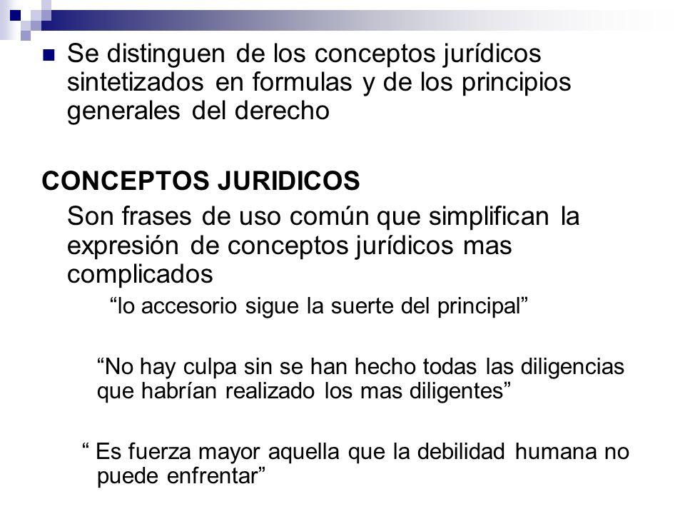 Se distinguen de los conceptos jurídicos sintetizados en formulas y de los principios generales del derecho