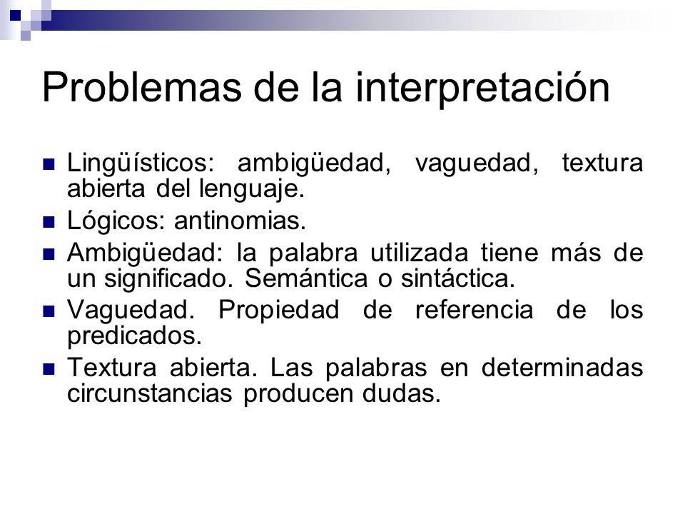Problemas de la interpretación