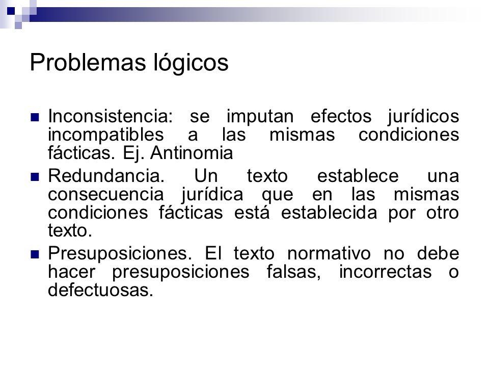 Problemas lógicos Inconsistencia: se imputan efectos jurídicos incompatibles a las mismas condiciones fácticas. Ej. Antinomia.