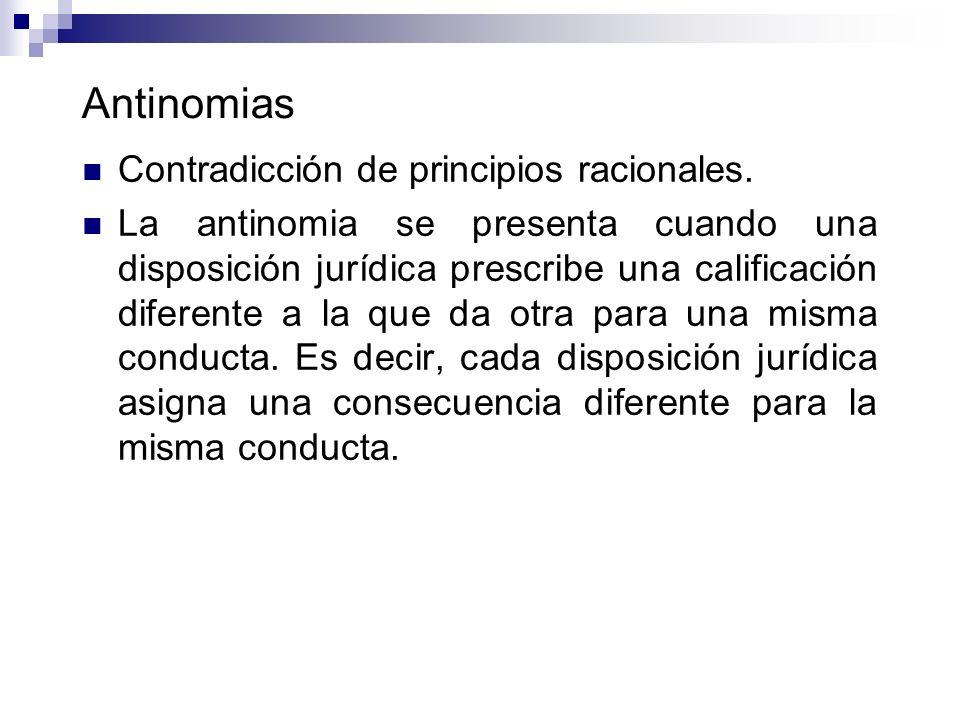 Antinomias Contradicción de principios racionales.