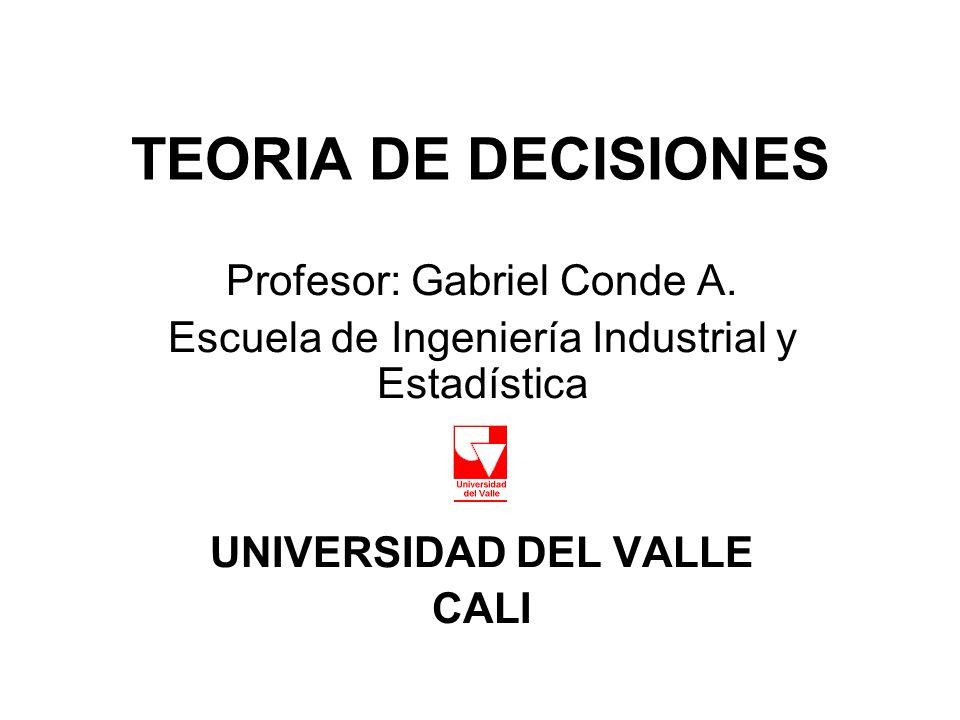 TEORIA DE DECISIONES Profesor: Gabriel Conde A.
