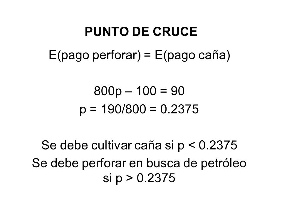 E(pago perforar) = E(pago caña) 800p – 100 = 90 p = 190/800 = 0.2375