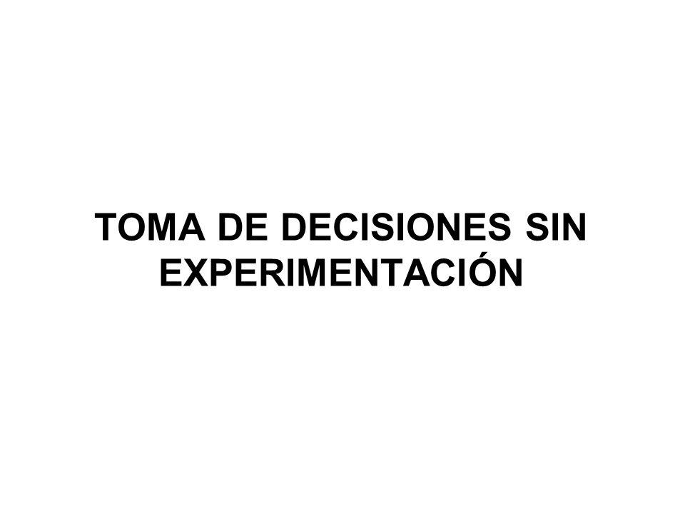 TOMA DE DECISIONES SIN EXPERIMENTACIÓN