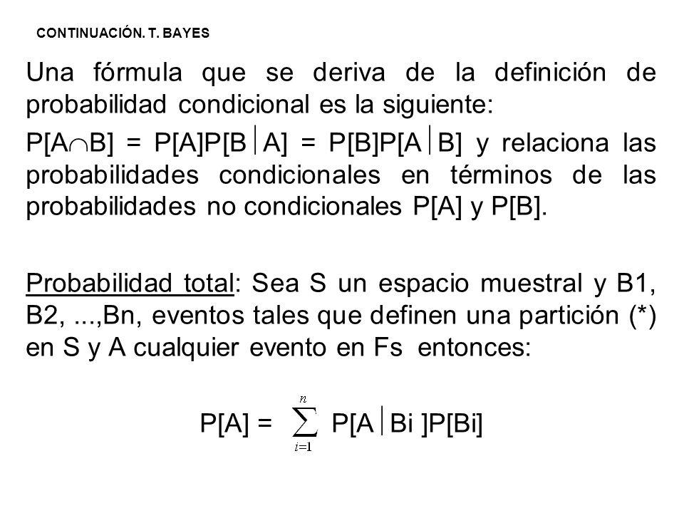 CONTINUACIÓN. T. BAYES Una fórmula que se deriva de la definición de probabilidad condicional es la siguiente: