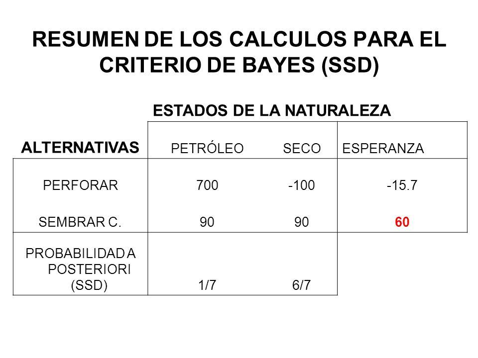 RESUMEN DE LOS CALCULOS PARA EL CRITERIO DE BAYES (SSD)